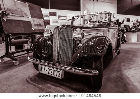 STUTTGART GERMANY - MARCH 02 2017: Sports car BMW 319 Sportcabriolet 1936. Vintage toning. Europe's greatest classic car exhibition