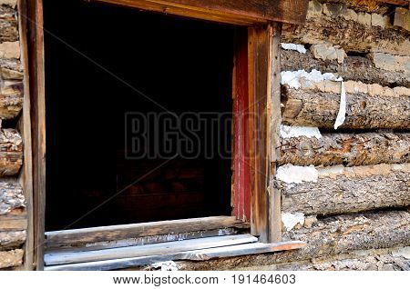 Window In An Abandoned Cabin