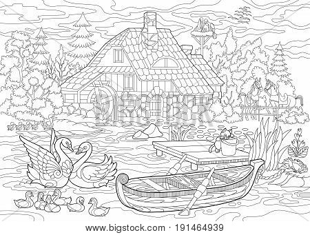 Coloring book page of rural landscape farm house ducks kitten swans horses frog storks flock of seagulls. Freehand drawing for adult antistress colouring with doodle and zentangle elements.
