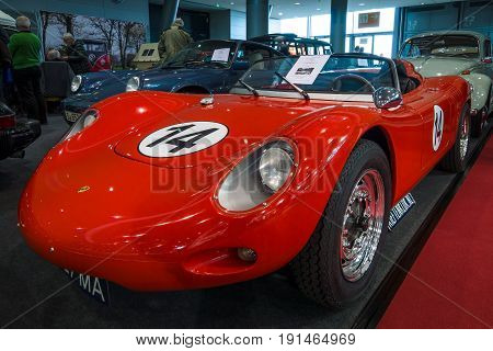STUTTGART GERMANY - MARCH 02 2017: Racing car Porsche 718 RSK Spyder Tribute 1970. Europe's greatest classic car exhibition