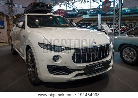 STUTTGART GERMANY - MARCH 02 2017: Mid-size luxury crossover SUV Maserati Levante S 2016. Europe's greatest classic car exhibition