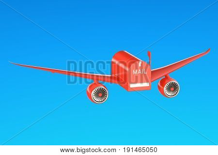 Delivery concept. Mailbox with wings flying in the sky 3D rendering