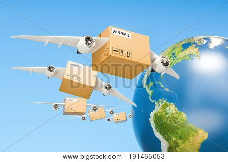 Global air mail delivery concept. Parcels with wings flying in the sky around Earth globe 3D rendering