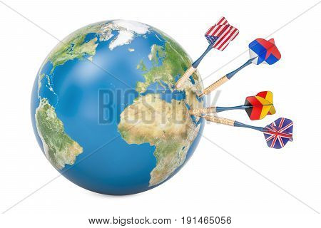 Global politic and political target concept 3D rendering