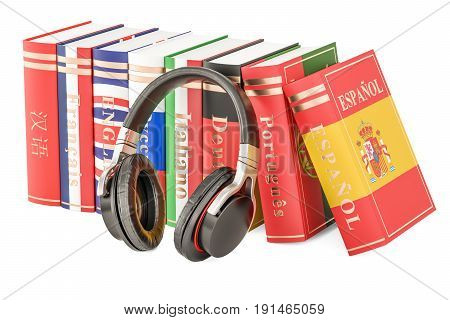 Headphones and language books learning concept. 3D rendering