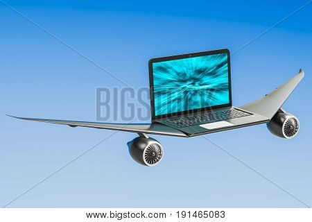 Laptop with airplane wings turbo boost concept. 3D rendering poster