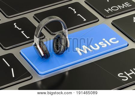 Music button blue key on keyboard with headphones. 3D rendering