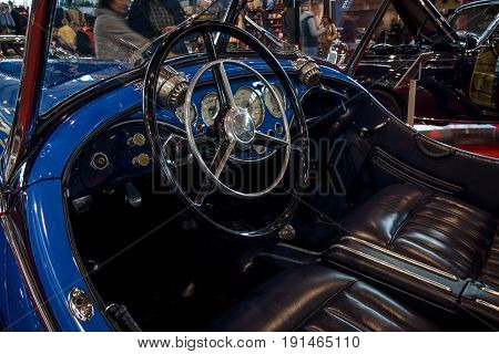 STUTTGART GERMANY - MARCH 02 2017: Interior of a sports car Wanderer W25K Roadster 1936. Europe's greatest classic car exhibition