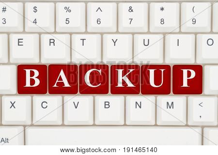 You should backup your computer data A close-up of a keyboard with red highlighted text Backup 3D Illustration