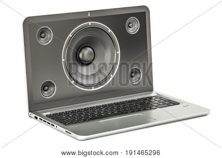 Music concept laptop with loudspeaker. 3D rendering
