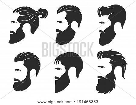 Set of silhouettes of a bearded men, hipster style. Barber shop emblems. Fashion badges labels. Vector illustration.