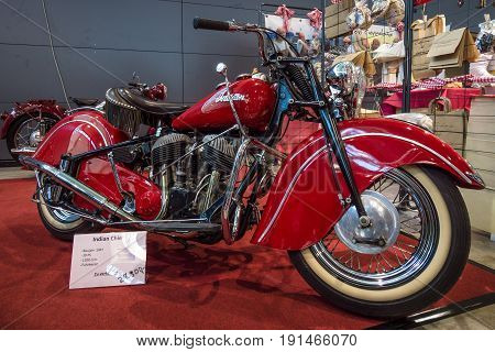 STUTTGART GERMANY - MARCH 02 2017: Motorcycle Indian Chief 1947. Europe's greatest classic car exhibition