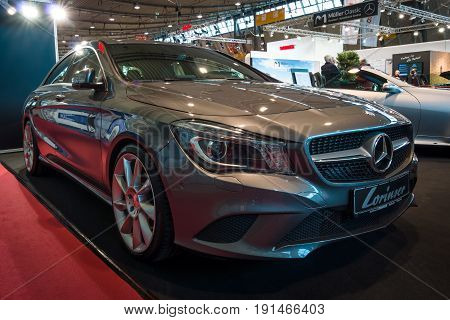 STUTTGART GERMANY - MARCH 02 2017: Compact car Mercedes-Benz CLA200 (C117) 2016. Europe's greatest classic car exhibition