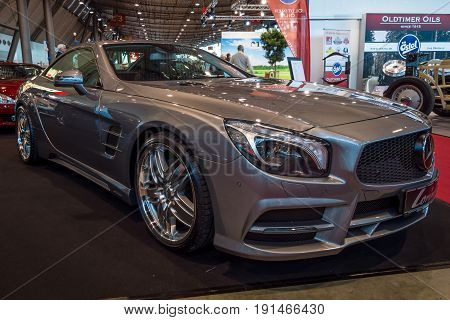 STUTTGART GERMANY - MARCH 02 2017: Sports car Mercedes-Benz SL350 (R231) 2012. Europe's greatest classic car exhibition