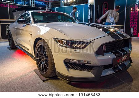 STUTTGART GERMANY - MARCH 02 2017: Muscle car Ford Mustang Shelby GT 350 2016. Europe's greatest classic car exhibition