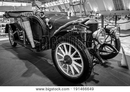 STUTTGART GERMANY - MARCH 02 2017: Vintage car Delage B1 Tourer 1915. Black and white. Europe's greatest classic car exhibition