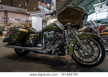 STUTTGART GERMANY - MARCH 02 2017: Motorcycle Harley-Davidson Road Glide Special 2017. Europe's greatest classic car exhibition