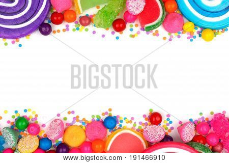 Double Border Of An Assortment Of Colorful Candies Against A White Background