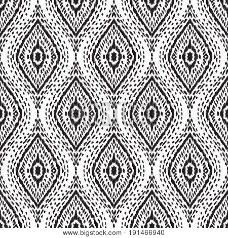 Abstract background. Black and white Ikat seamless pattern for textile, wallpaper, card or wrapping paper.