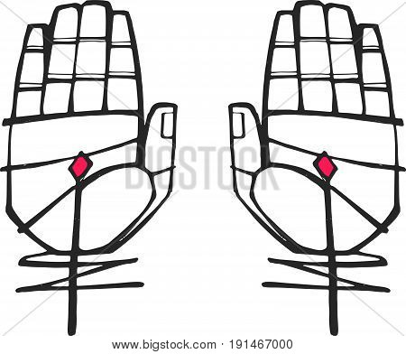 Hand drawn vector illustration or drawing of Jesus Christ Hands