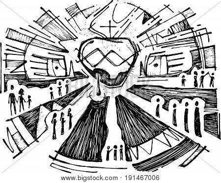 Hand drawn vector illustration or drawing of Jesus Christ Sacred Heart and Hands