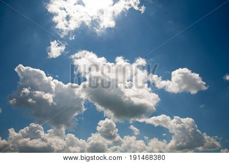 Sky Clouds On A Background Of Bright Blue Clear Sky