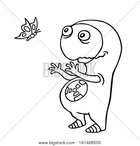 Friendly space alien enjoy the butterfly. Vector illustration. Funny cute imaginary character.