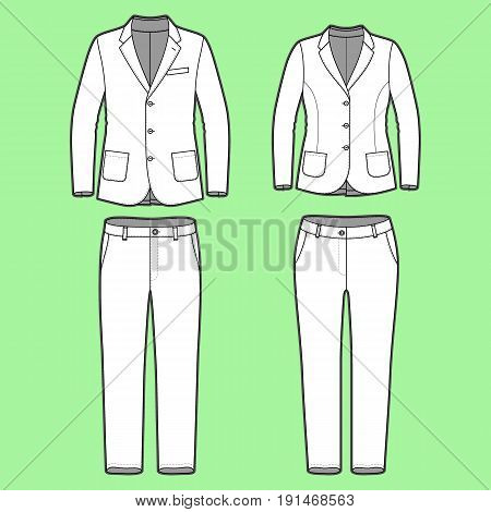 Blank Mens and Womens clothing set in white colors. Blank template of classic blazers and pants in front view. Casual style. Workwear suits. Vector illustration for your fashion design.