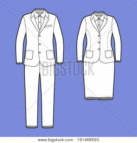 Blank Mens and Womens clothing set in white colors. Blank template of workwear suits in front view. Casual style. Vector illustration for your fashion design.