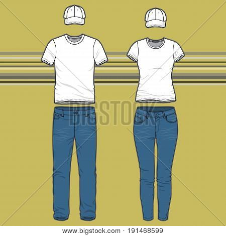 Front view of mens and womens clothing set. Blank templates of t-shirt, cap and jeans.  Casual style. Vector illustration on the striped background for your fashion design.