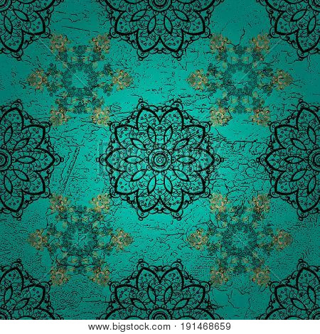 Dark pattern on blue and dark background with golden elements. Luxury royal and Victorian concept. Ornate decoration. Vector vintage baroque floral pattern in dark.
