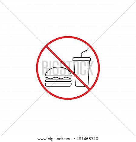 No food line icon, no eating red prohibited sign, vector graphics, a linear color pattern on a white background, eps 10.