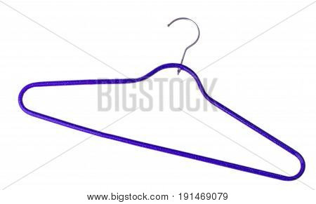 Purple plastic empty hanger with a hook on a white background