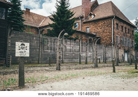 Oswiecim Poland - June 14 2017: Auschwitz I concentration camp territory on June 14 2017 in Oswiecim Poland.