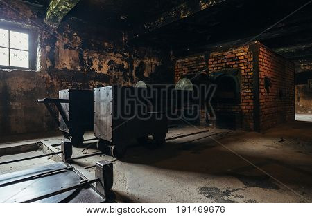 Oswiecim Poland - June 14 2017: Auschwitz-Birkenau concentration camp Crematorium I interior on June 14 2017 in Oswiecim Poland.