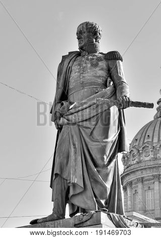 The monument to Field Marshal Prince Barclay De Tolly in St. Petersburg installed on the Kazan Square near Nevsky Prospekt Russia. Black and white. Russian commander military minister.