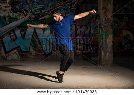 Male Dancer Practicing Some Moves