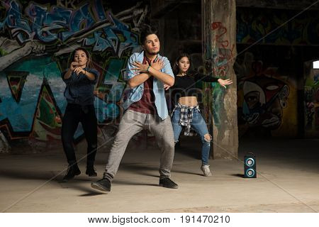 Lead Dancer Performing With Crew