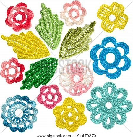 Set of crocheted flowers and leaves in the style of Irish lace
