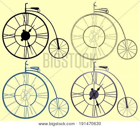 Decorative A Clock Penny-Farthing Bicycle Illustration Vector