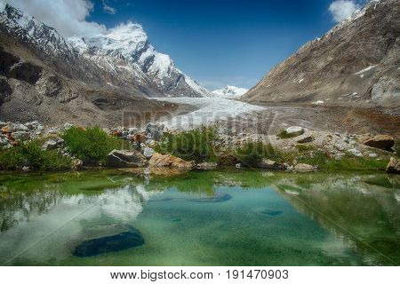 Blue glacial lake: in the mirror of water reflects bright sky with white clouds green plants along the edge of the water and huge mountains with ice top around Zanskar Himalayas India.