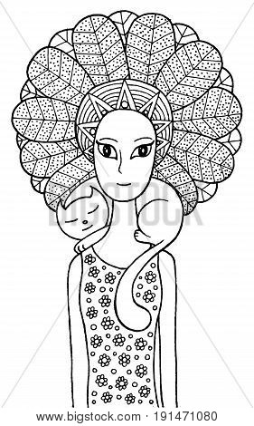 Boho shaman girl with cute cat. Vector fairy tale illustration for coloring page or book. Ethnic fashion graphic art for adult and children.