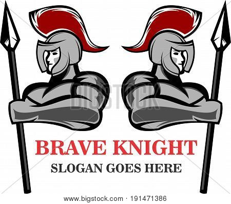 logo illustration brave spartan warrior hold lance