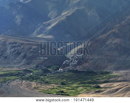 Dawn in the huge mountain valley of Zanskar to forefront of large fertile green fields to the background on the of the cliff is Buddhist monastery city of Karcha Himalayas Northern India.