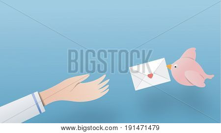 Birds are sending letters to hand. paper art copy space vector paper cut cute illustration
