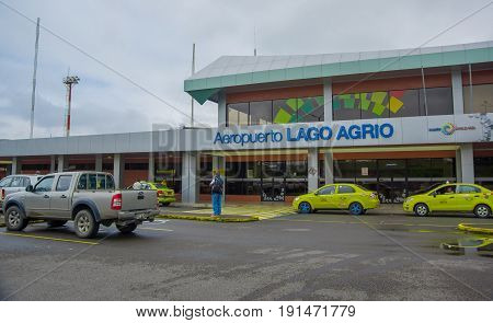 LAGO AGRIO, ECUADOR- NOVEMBER 16, 2016: Beautiful airport located in the city of Lago Agrio, where tourist arrived to travel and visit the Cuyabeno National Park, full of biodiversity of animals and plants.