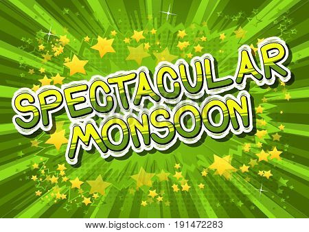 Spectacular Monsoon - Comic book style word on abstract background.