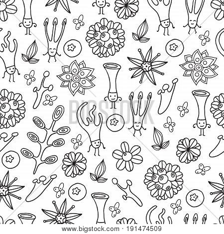 Forest pattern with dancing fantasy moss creatures and floral elements - berry leaf flower. Plant ornament. Vector graphic illustration. Cartoon art for fabric coloring page or book for adult.