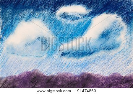 The landscape is dry pastel. Cloudy sky over arable land. Picturesque landscape. Cloudy sky. Crayons dry pastels. Impressionism.