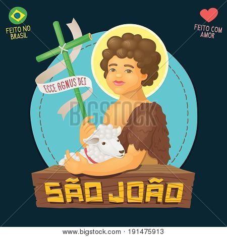 Saint John Baptist, honored in brazilian june parties - Ecce agnus dei (Behold the lamb of God) - Made in Brazil with love - High quality detailed vector cartoon for june party or religious themes.